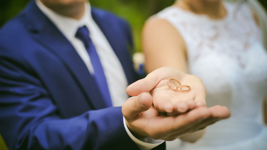 Close-Up Of Couple Holding Rings