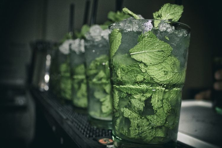 Close-up Of Mojito On Bar Table