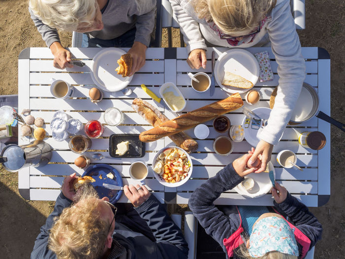 High angle view of people at restaurant