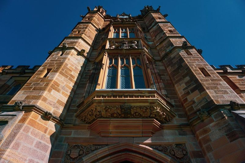 Ancient arts should be preserved always University Of Sydney Art Architecture Built Structure Low Angle View Building Exterior Sky Building Clear Sky History Travel Destinations No People Day Travel Tourism Tower
