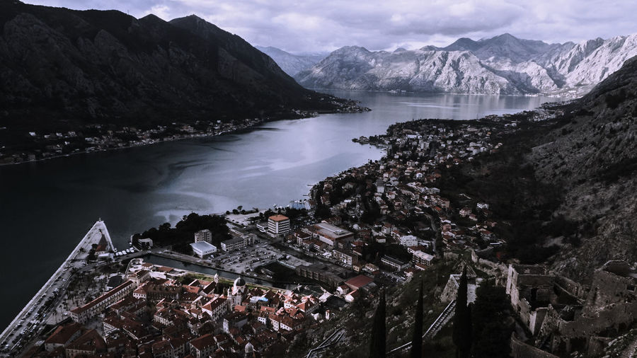 Panoramic view of city in the mountains
