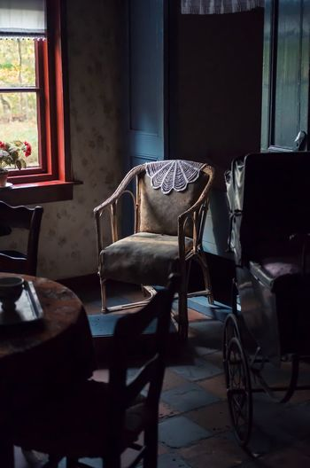 She is gone Chair Indoors  Empty Absence Table No People Seat Furniture Day Oldpicture Oldpeople Vintage