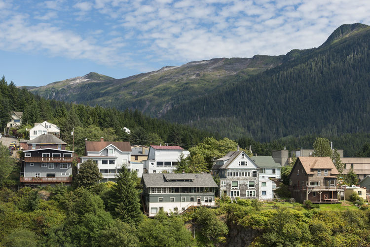 Mountain Tree Building Exterior Built Structure Architecture Sky Nature No People Cloud - Sky Day Scenics - Nature Residential District Green Color House Outdoors Mountain Range KetchikanAlaska Homes Houses And Windows Scenic Hillside View
