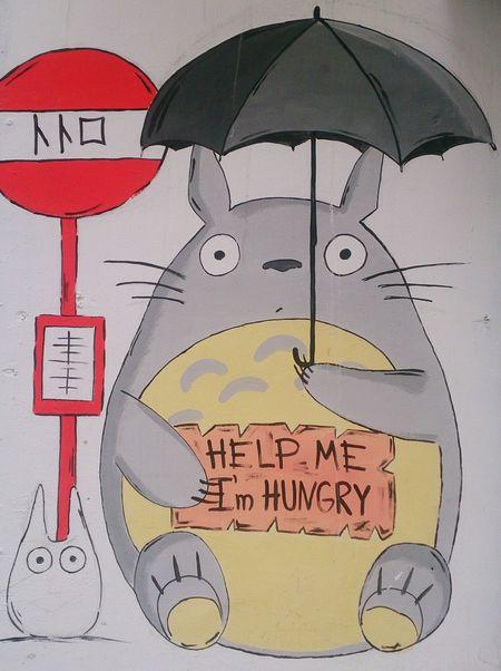 Тоторо в Москве. арт  Граффити аниме Art Graffiti Anime KAWAII Close-up Japanese