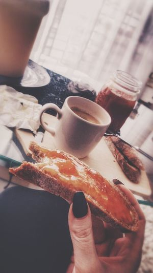 Good morning my friends😊 i enjoy my breakfast after 18 hours of fasting 💪🏼 happy womens day💅🏻🌺💋💄👑✨🥂🍾 Satisfied  Happy Frühstück Marmeladenzeit Cup Of Coffee Womens Day 2018 Tadaa Community Human Hand Human Body Part Food And Drink Real People One Person Holding Food Human Finger Drink Refreshment Coffee - Drink Breakfast Lifestyles Women Table Indoors