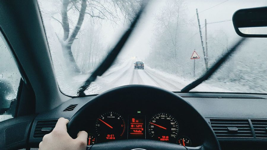 Car Car Interior Car Point Of View Journey Land Vehicle On The Move Road Road Trip Snow Snowing Steering Wheel Transportation Vehicle Interior Windshield Winter Winter Trees Winterscapes First Eyeem Photo