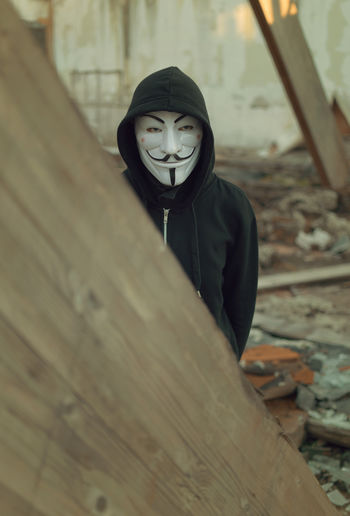 Anonymous Black Hoodie Hacker Human Man Mask Masked Person One Person People Portrait Ruins Architecture Stranger