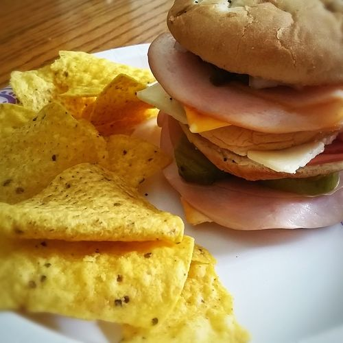 Mmmm... Lunchtime Food Photography Chips Sandwich Big Appetite Restaurant Food Big Stack Close Up Yum