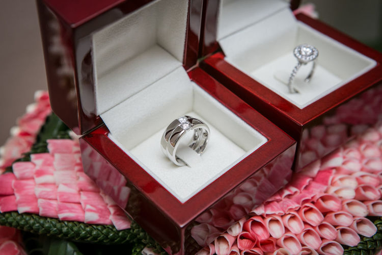 High angle view of wedding rings in box