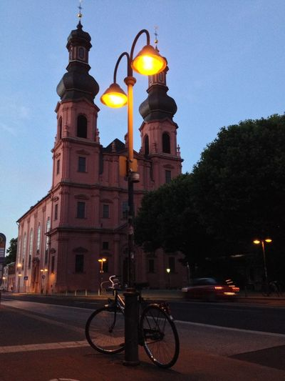 Bycicles Cathedral Church Dusk Peterskirche Place Of Worship St. Peter's Church Street Lamp