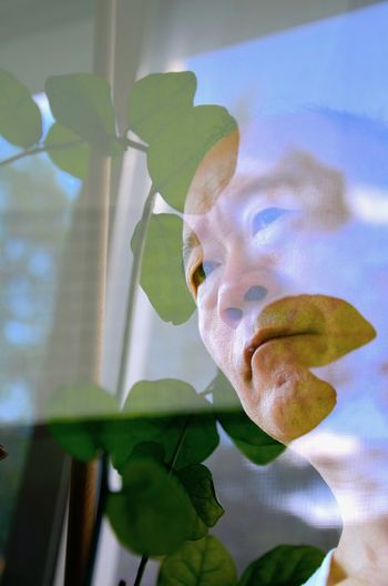 Close-up Double Exposure Face Of Man Green Color Leaf Leaf Vein Leafs Photography Leafs 🍃 Leaves And Face Man's Pose Portrait Of A Man  Reflections Self Portrait