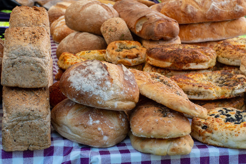 Freshly baked artisan bread on table Artisan Baked Bread Food Fresh Freshness Healthy Eating Home Made Organic Ready-to-eat Still Life Wellbeing