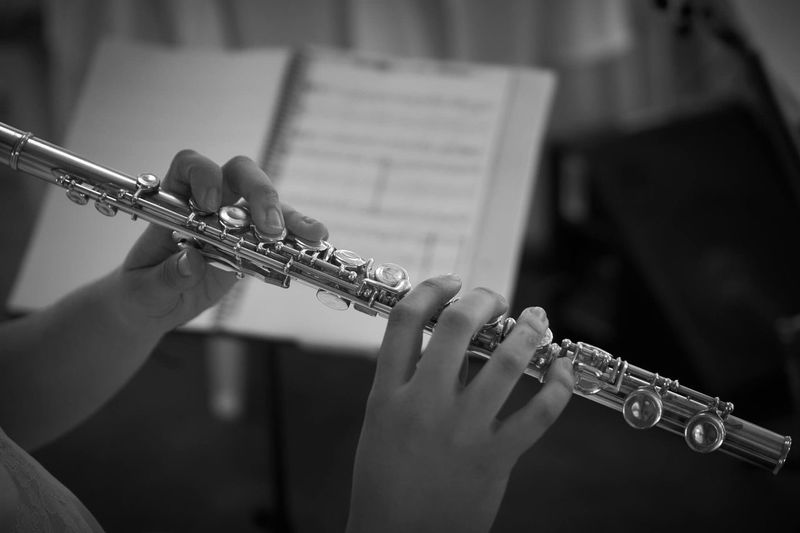 Close-Up Of Person Playing Wind Instrument