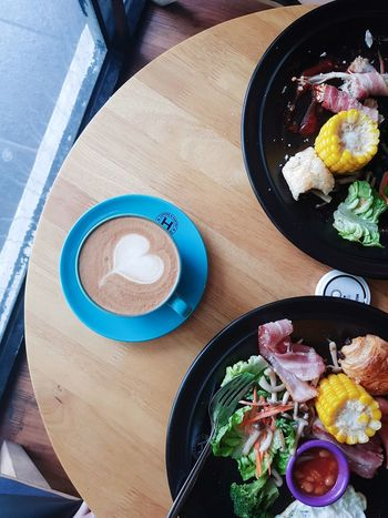Art Coffee Breakfast Morning Breakie Cuppuccino Art Onthetable Directly Above High Angle View Plate Table Food Food And Drink Indoors  Ready-to-eat Day Close-up Drink EyeEmNewHere EyeEm Ready