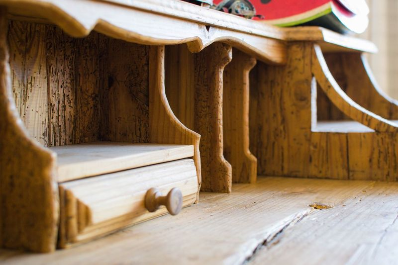 Wooden Desk Detail Vintage Wooden Desk EyeEm Selects Indoors  Wood - Material Hardwood Floor Home Interior Architectural Column No People Architecture Domestic Room Close-up Day