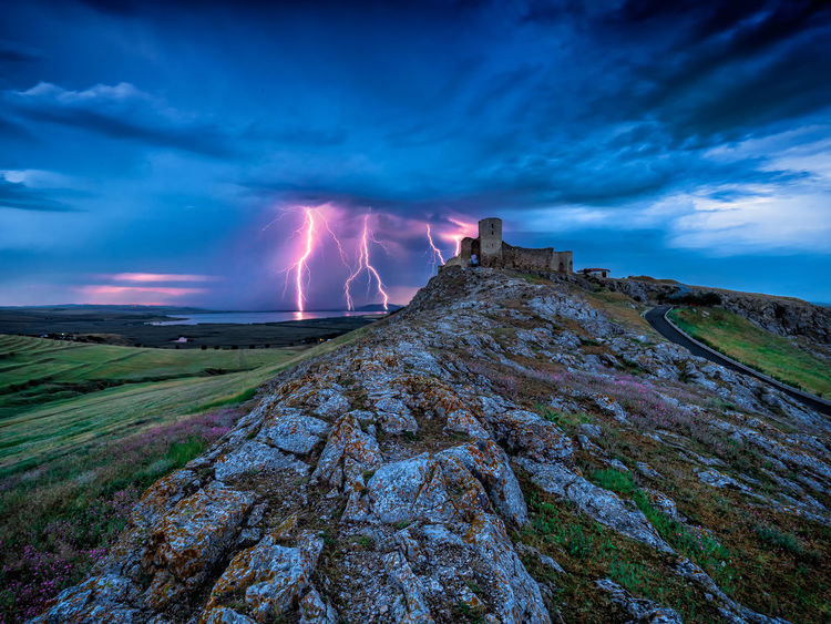 Beautiful Blue Hour Travel Beauty In Nature Blue Citadel Cloud - Sky Clouds Evening Landscape Lightning Mountain Nature Old Outdoors Power In Nature Scenery Sky Stronghold Sunset Thunderbolt Tourism
