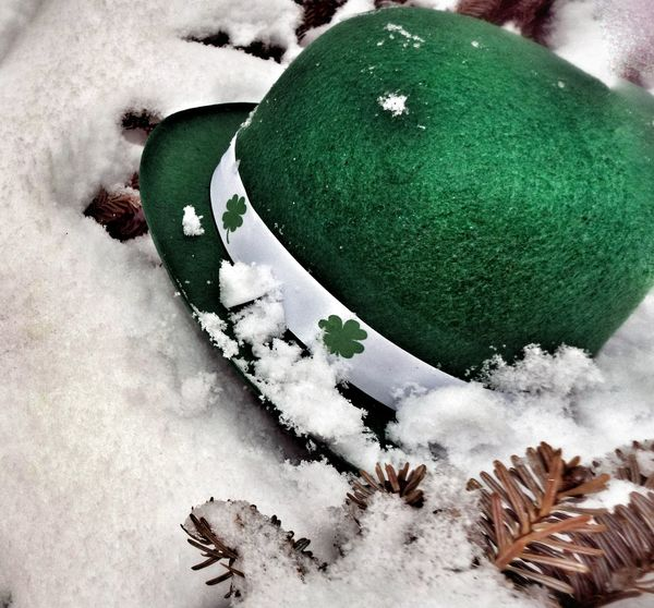 Showcase March Slainte Mhath Green Snow St. Patrick's Day Clovers  Green Color Luck Of The Irish Snow Covered Snow ❄ Hat Festive Theme