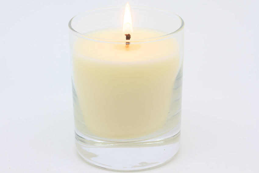 Candle Candle Light Close-up Flame Glass Horizontal Isolated Lit Lit Candle No People Studio Shot White Background White Candle