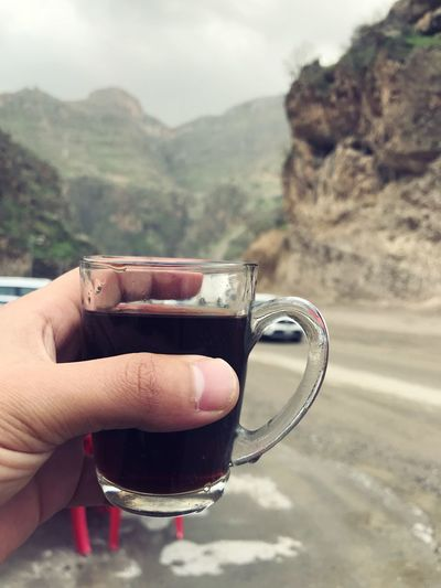 The tee 🤤♥️ Human Hand Hand Drink Refreshment Human Body Part Cup Mug Mountain Body Part Coffee Lifestyles Day Holding Hot Drink Close-up Food And Drink Focus On Foreground Coffee Cup One Person Real People