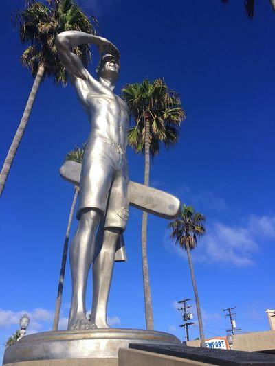 Low Angle View Palm Tree Statue Lifeguard  Outdoors Blue Dramatic Angles