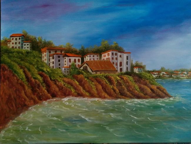 """Island Skiathos ,Greece ,oil on canvas 16""""_24"""" . Architecture Building Exterior Cloud - Sky Beauty In Nature Cliffs And Water Sea My Seascape Collection My Art Collection Original Art Oil Painting Fineart ArtWork Drawing Art, Drawing, Creativity Fine Art Tranquil Scene Scenics Seascape, My Best Friends ❤ Friendship. ♡   Love♥ Koi."""