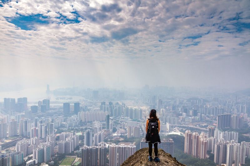 Stunning Hong Kong City Hong Kong Skylights Girl Landscape Silent Moment Adventure Hiking Mountain City Building Exterior Architecture Cityscape Sky Built Structure One Person Cloud - Sky Nature Women Looking At View