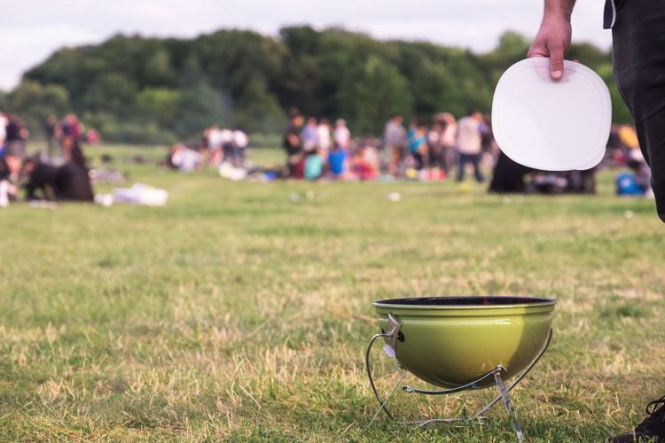 BBQ Copy Space Day Eating Enjoyment Field Friends Friendship Fun Grass Grassy Green Color Grill Human Hand Lawn Leisure Activity Lifestyles Outdoors Park Playing Summer Summertime Tempelhofer Feld Togetherness