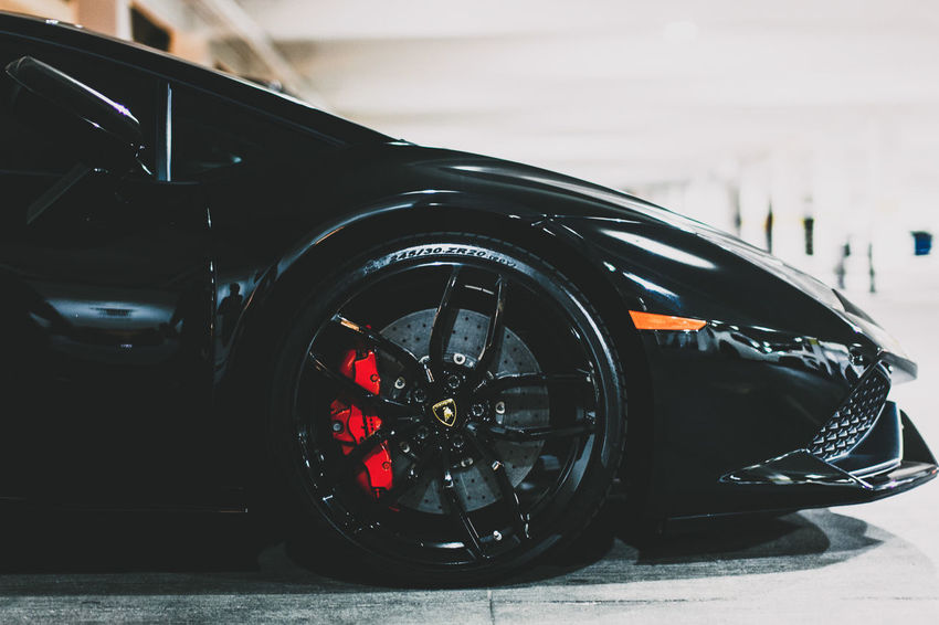 Lamborghini Huracan Lamborghini Lambo Lambo Evanscsmith Photography Photographerinlasvegas City Car Clock Face Black Color Close-up Tire Vehicle Part Wheel Side-view Mirror Parking
