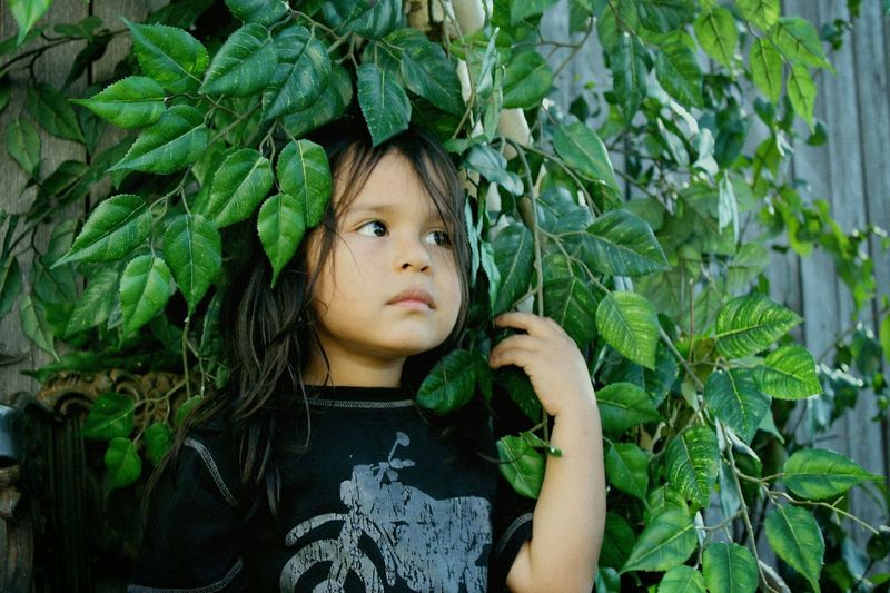 Child Childhood Leaf Portrait Plant Part Looking At Camera Headshot Outdoors Offspring One Person Green Color First Eyeem Photo