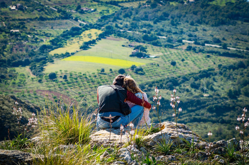 At The Top Beauty In Nature Beneath Couple Forever Together Hiking Landscape Looking At View Love Nature Rear View Vacations