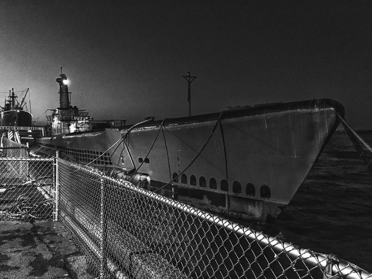 Nautical Vessel Black & White Transportation Darkness And Light Blackandwhite Photography Monochrome Street Light Cityscapes Night Lights Night Photography
