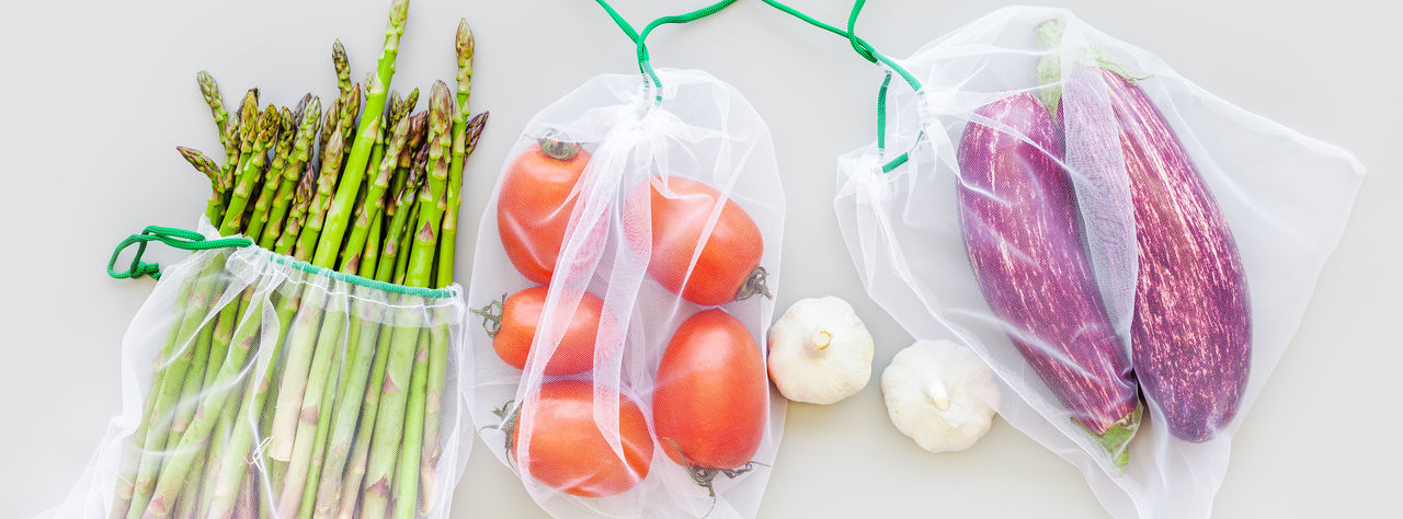High angle view of fresh vegetables on white background