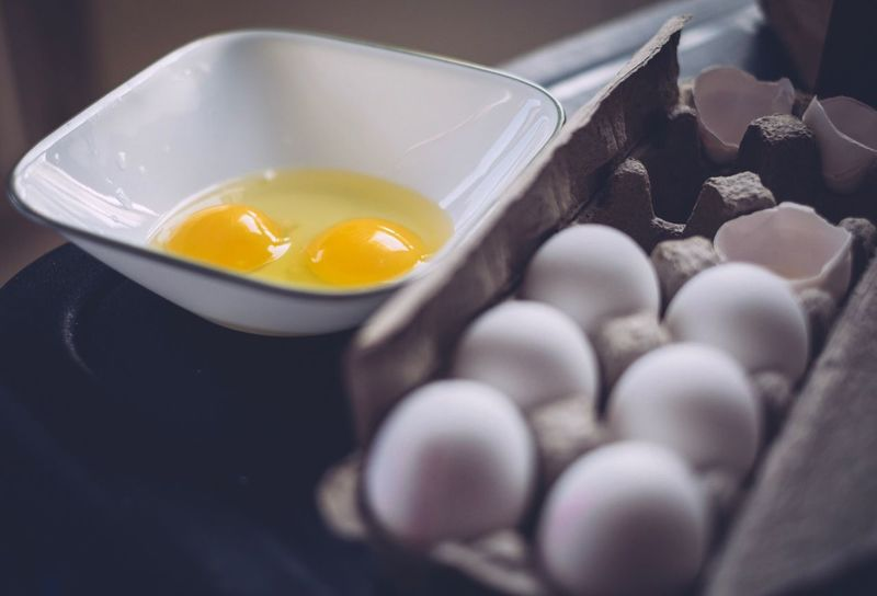 Egg Food Food And Drink Egg Yolk Indoors  No People Food Stories Eggshell Freshness High Angle View Close-up Breakfast Bowl Yellow Healthy Eating