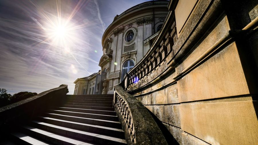 Castle Taking Photos First Eyeem Photo Taking Pictures Backlight Architecture Sunlight Sunrise_Collection Schloss History Steps And Staircases Sunlight Sky Architecture Building Exterior Built Structure Staircase Hand Rail Historic Old Ruin Historic Building