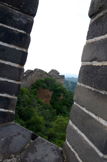 Great wall of china against sky seen through window