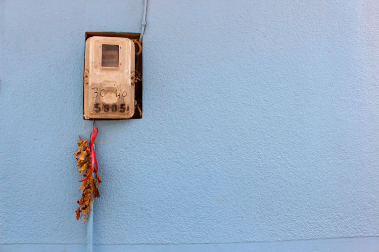 Blue Close-up Electricity  Greece Grey Lesbos Lesvos Meter No People Offering Scene Village Village Life Wall Wall - Building Feature