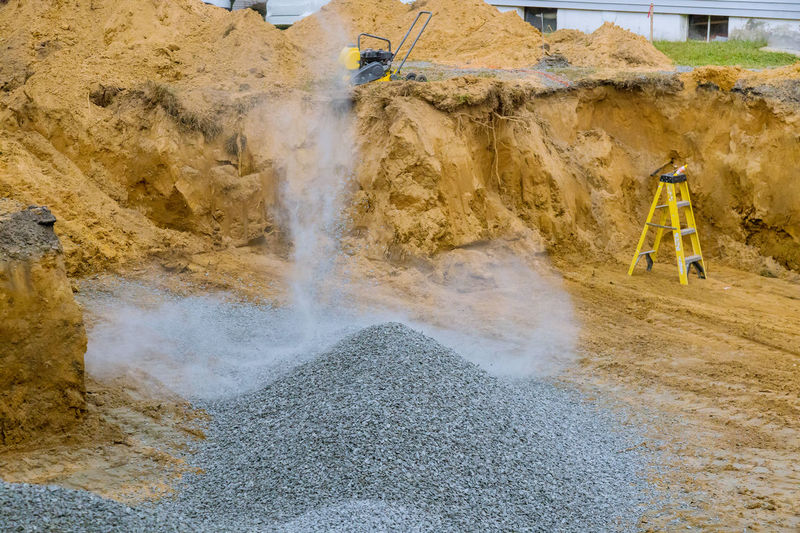 Panoramic shot of construction site in water