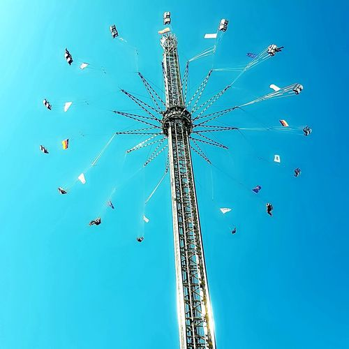 Volksfest♥ Rollercoaster Sun Blue Sky Schnell City Clear Sky Blue Amusement Park Sky