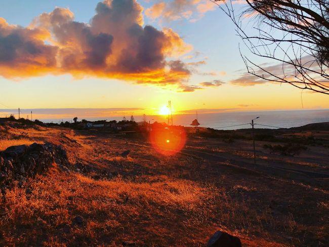 Sky Sunset Water Cloud - Sky Scenics - Nature Beauty In Nature Sea Orange Color Land Nature Sun Beach Tranquility Tranquil Scene No People Horizon Over Water Idyllic Horizon Sunlight Outdoors