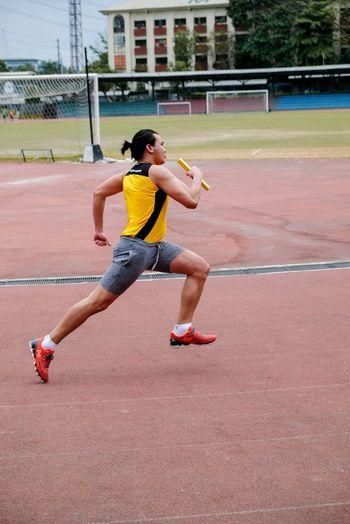 Full length of a man running