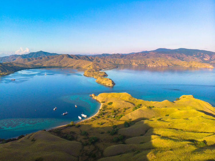 Gili / Island of Laba at Flores Indonesia Water Scenics - Nature Beauty In Nature Tranquil Scene Tranquility Sky Nature Lake Mountain No People Environment Landscape Idyllic Blue Day Non-urban Scene Land Travel Outdoors Laba Island Lawang Sewu Komodo Flores INDONESIA