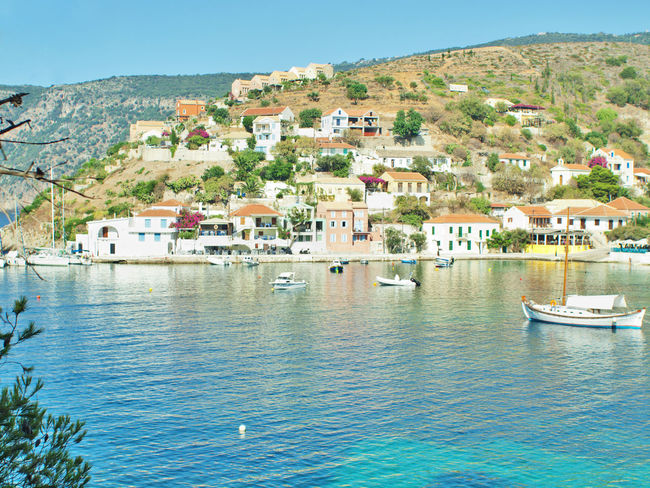 Architecture Building Exterior Built Structure City Cityscape Clear Sky Day House Kefalonia, Greece Nautical Vessel No People Outdoors Residential Building Scenics Sea Sky Town Travel Destinations Village Water