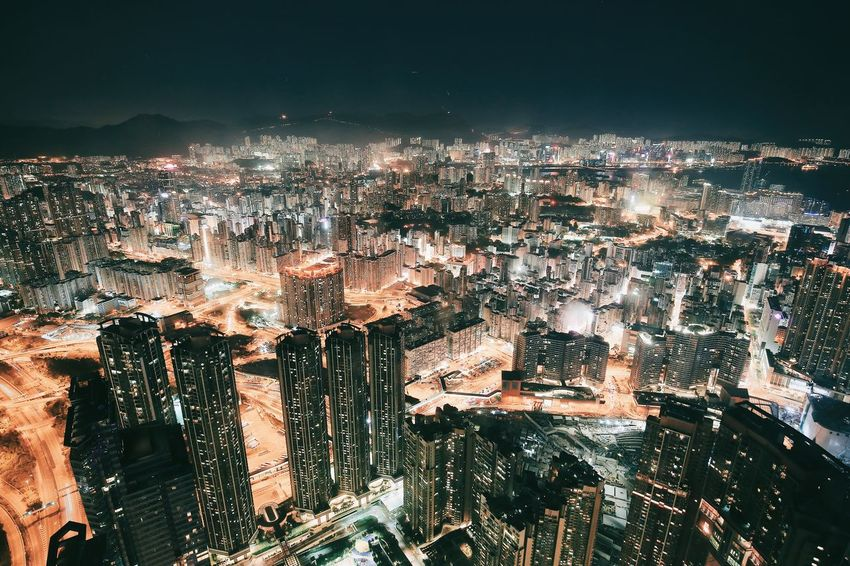 Cityscape Night City Illuminated Architecture No People Outdoors Sky The City Light Hong Kong Architecture Urban Landscape High Angle View Building Exterior Architecturelovers Urban Geometry Skyscraper Architecture_collection Darkness And Light