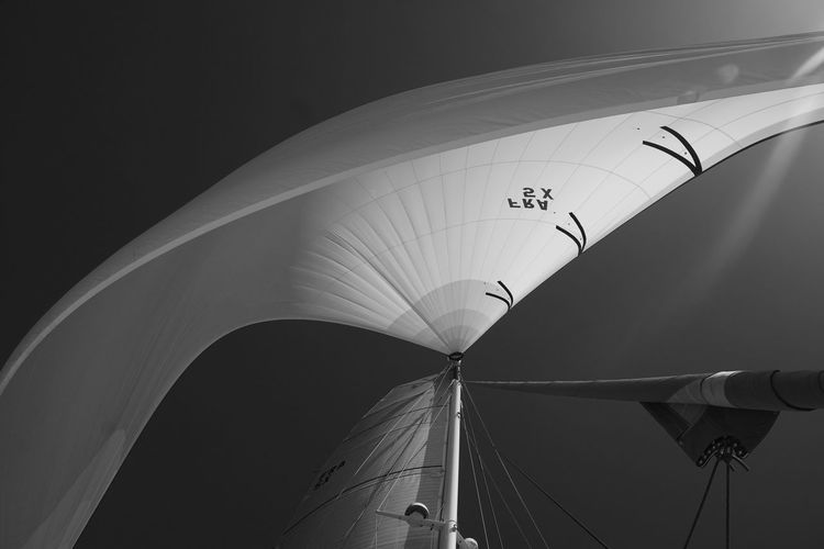 Low angle view of sailboat against sky