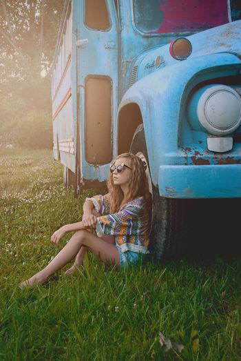 Blue Boho Bus Favorite Hippie Model Modeling Peace Photographer Photography