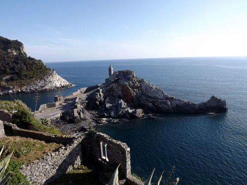 Blue Blue Sea Church Italy Liguria Panorama Panorama View Panoramic Panoramic Photography Portovenere San Pietro Sea Sea And Sky Seascape