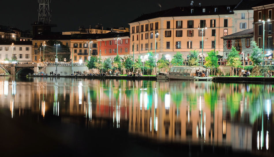 Lights Milan Milano Nightphotography Architecture Building Exterior Built Structure City Illuminated Night No People Outdoors Reflection River Water
