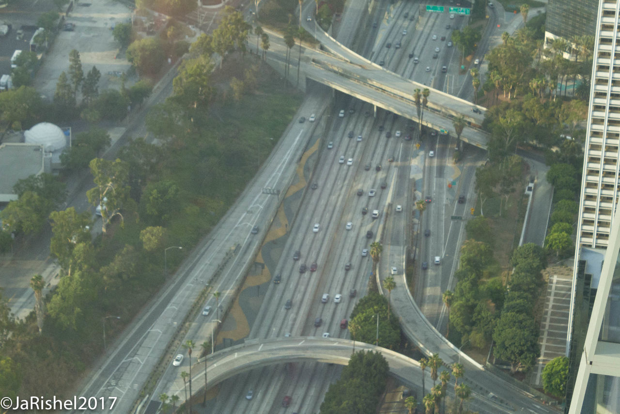 transportation, road, bridge - man made structure, elevated road, highway, traffic, connection, aerial view, high angle view, car, mode of transport, land vehicle, architecture, motion, no people, city, built structure, outdoors, day