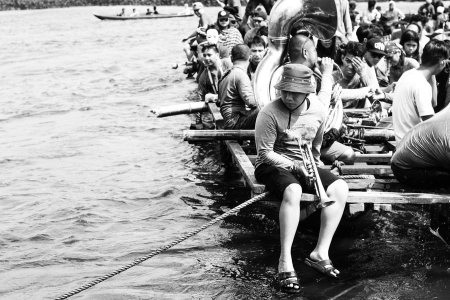 Trumphet above the lake #philippines #pluvialparade #townfiesta #children #BnWP #filipinos EyeEmNewHere Outdoors