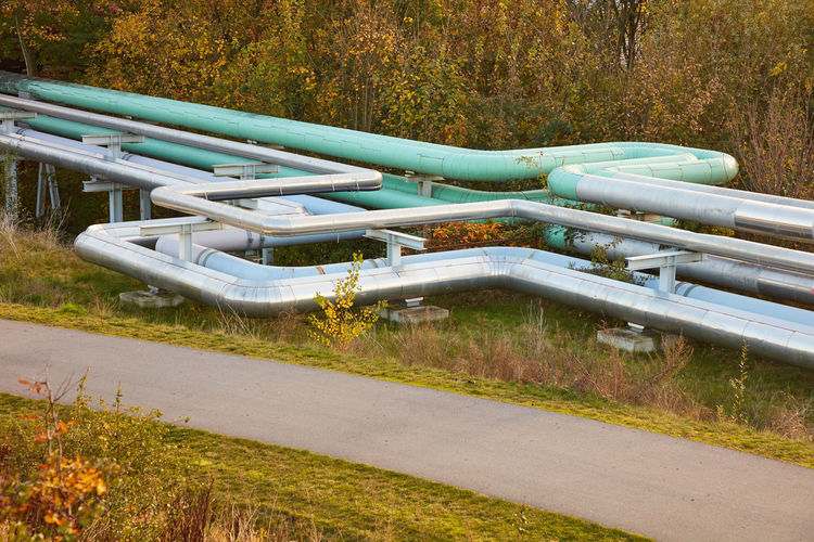 High angle view of pipes on road